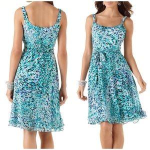 WHBM Chiffon Silver Hardware Splatter Colors Dress
